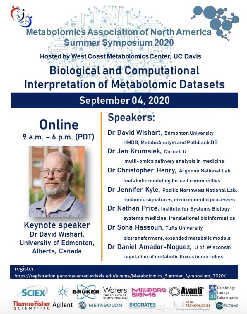 Genome Center Halloween Symposium 2020 Metabolomics Association of North America Summer Symposium 2020